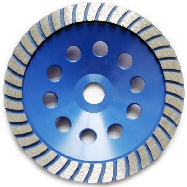 Cold Press Single Turbo Diamond Cup Grinding Wheel For Concrete Blue Color