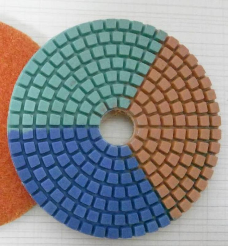 Tripple Color Wet Diamond Polishing Pads For Concrete / Marble 3-5 Inches